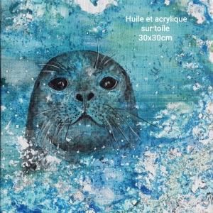 peinture de phoque sortant de l'océan