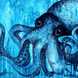 Toile -peinture à l'acrylique pieuvre bleue