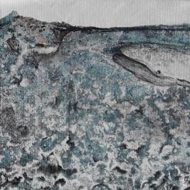 peinture de vague et baleines