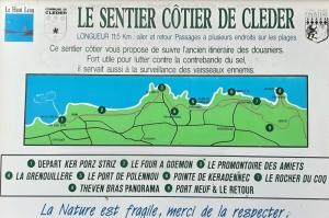 Carte du GR 34 dans le Léon